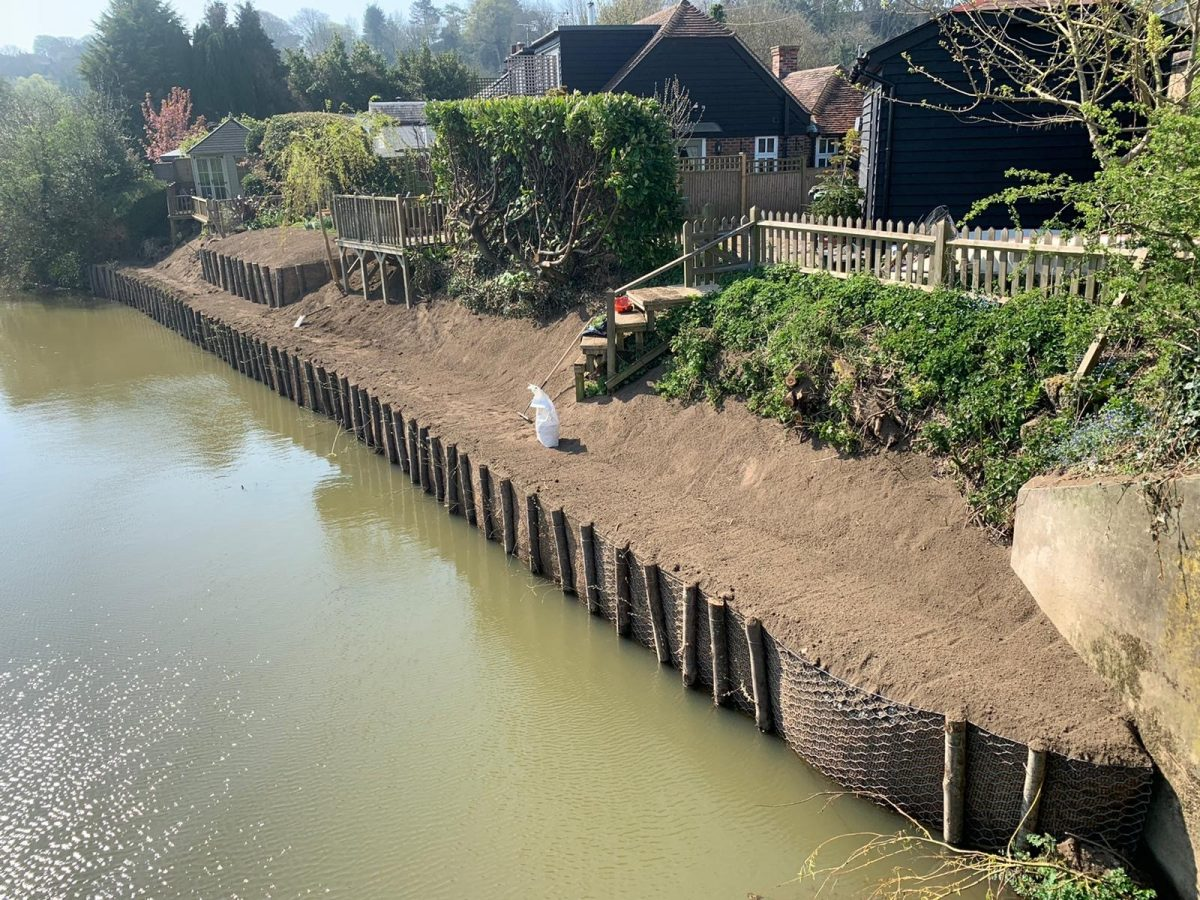 Completed two tier Coirnet revetment erosion control