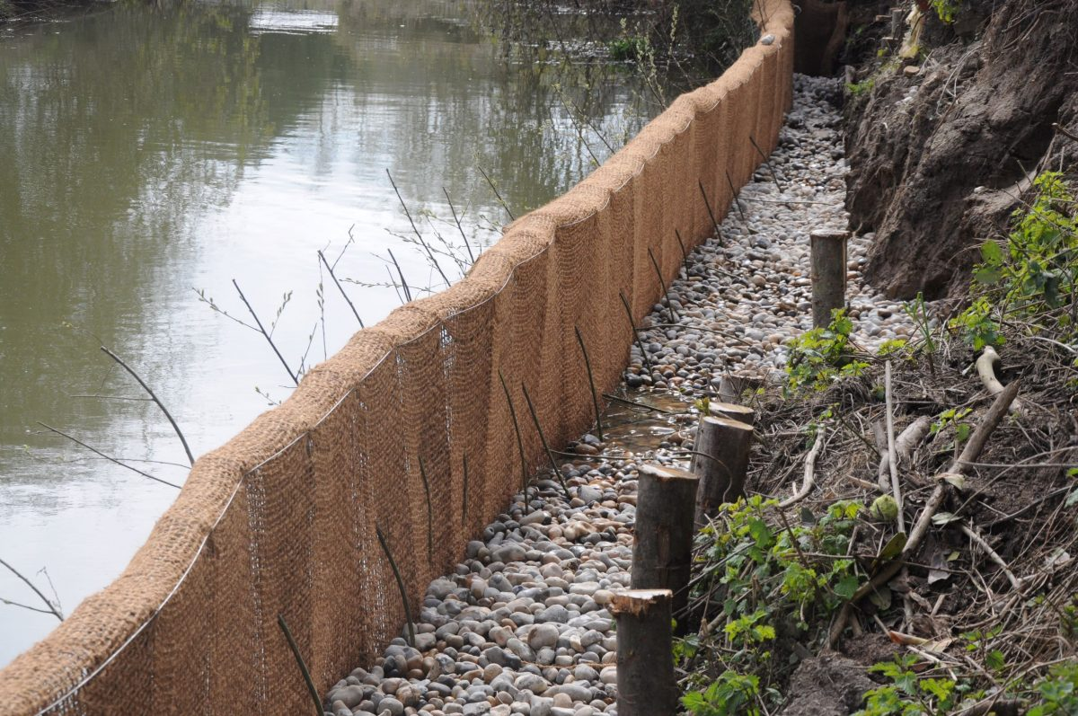 Construction of river bank erosion control